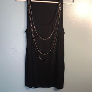 Black tank with chain necklaces